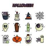 Halloween flat icons set Royalty Free Stock Photo