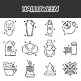 Halloween flat icons set Royalty Free Stock Images