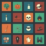 Halloween flat icons set. Graphic illustration design Royalty Free Stock Photos