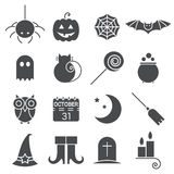 Halloween flat icons set. Holiday pictogram collection of spider, cat and bat, web, ghost and pumpkin, candy and potion, owl, calendar, moon and broom, boots Stock Photo