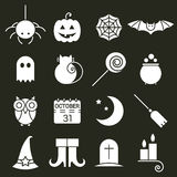 Halloween flat icons set. Holiday pictogram collection of spider, cat and bat, web, ghost and pumpkin, candy and potion, owl, calendar, moon and broom, boots Royalty Free Stock Images