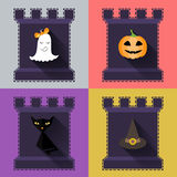 Halloween flat icons set. Pumpkin,ghost, hat, black cat in castle Royalty Free Stock Photography