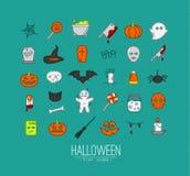 Halloween flat icons turquoise Stock Photos