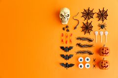 Halloween flat lay stock photos