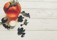 Halloween flat lay. happy halloween concept. pumpkin with witch. Ghost bats and spider black decorations on white wooden background top view with space for text Royalty Free Stock Photo