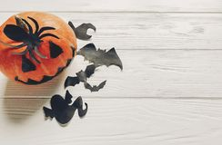Halloween flat lay. jack lantern pumpkin with witch ghost bats a Stock Photography