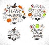Halloween flat monograms color Stock Photos