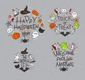 Halloween flat monograms gray Stock Image