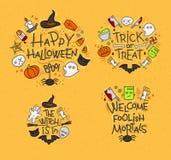 Halloween flat monograms mustard Stock Image