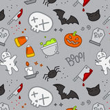 Halloween flat pattern skull color Stock Images