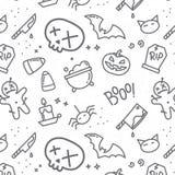 Halloween flat pattern skull Royalty Free Stock Images