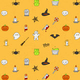Halloween flat pattern soft color Stock Image