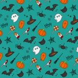 Halloween flat pattern turquoise Royalty Free Stock Photo