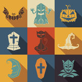 Halloween flat style icon set vector Royalty Free Stock Photography