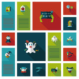 Halloween flat ui background set Royalty Free Stock Photography