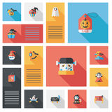 Halloween flat ui background set Stock Photo