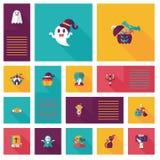 Halloween flat ui background set Stock Image