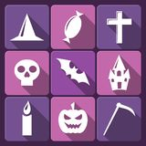 Halloween flat vector icons with long shadow. Set Stock Photos