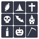 Halloween flat vector icons. Set 1 Royalty Free Stock Photography