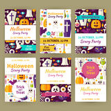 Halloween Flat Vector Party Invitation Template Set Stock Image