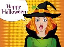 halloween Flickan i dräkten och hatt av häxan som ut klibbas vektor illustrationer