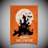 Halloween flier with spooky castle design vector illustration