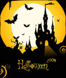 Halloween flyer background with castle and bats Royalty Free Stock Photography