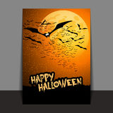 Halloween Flyer or Cover Design with Lots of Flying Bats Over the Night Field in the Darkness Under the Starry Sky and Yellow Moon. Dark Abstract Halloween Card Stock Photography