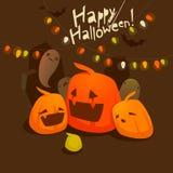 Halloween flyer with pumpkins Stock Images