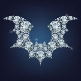 Halloween flying bat silhouettes made a lot of diamonds Royalty Free Stock Photos