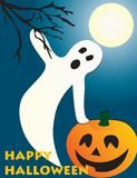 Halloween flying ghost and pumpkin scene Stock Photo