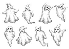 Halloween flying monsters and ghosts Stock Image