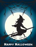 Halloween flying witch on a broom scene Stock Photography