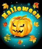 Halloween, foglie di autunno, fondo variopinto del carattere della zucca Illustrazione di vettore Fotografia Stock Libera da Diritti