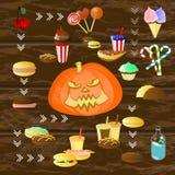 Halloween Fogo alaranjado da abóbora Entre o alimento ilustração do vetor