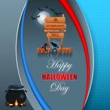 Halloween, fondo de la celebración con la muestra de madera Foto de archivo libre de regalías