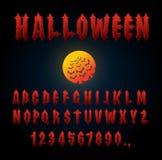 Halloween font. Ancient alphabet. Blood Gothic letters. Vintage Stock Images