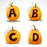 Halloween font cut out pumpkin letter A,B,C,D Stock Images