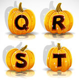 Halloween font cut out pumpkin letter Q,R,S,T Royalty Free Stock Images