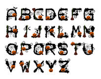 Halloween Font Design Vector Stock Images