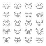 Halloween font face à la ligne mince course editable réglée d'icône illustration stock