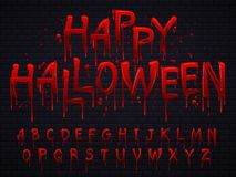 Halloween font. Horror alphabet letters written blood, scary bleed font or wet bloody sign isolated vector illustration. Halloween font. Horror alphabet letters vector illustration