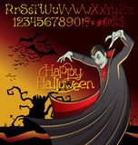 Halloween font set and Vector Vampire Dracula Royalty Free Stock Photography