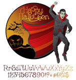Halloween font set and Vector Vampire Dracula Stock Photography