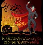 Halloween font set and Vector Vampire Dracula Stock Photography