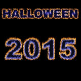 Halloween 2015 font written with hot flames Royalty Free Stock Photo