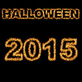 Halloween 2015 font written with hot flames Stock Image