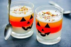Halloween food idea - frozen dessert in jack-o'-lantern decorate stock photos
