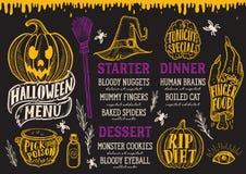 Halloween food menu on a chalkboard. vector illustration