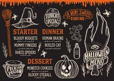 Halloween food menu on a chalkboard. royalty free illustration